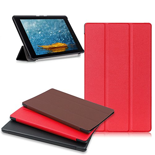 Amazon Fire HD 8 Tablet Case, Buruis Premium Leather Shockproof fire 8 Case Trifold Stand Cover