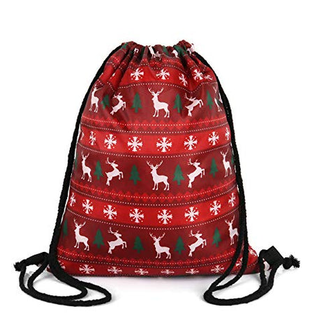 Violet Mist Print Drawstring Bag Tote Gym Sack Cosmetic Bag Backpack (Red Elk)