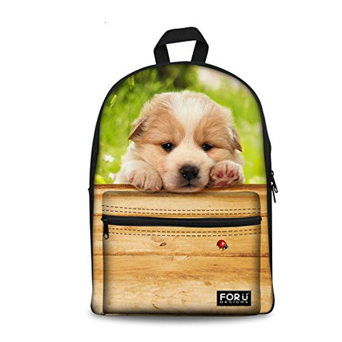 Bigcardesigns Lovely Puppy Printing Student Schoolbag Boys Girls