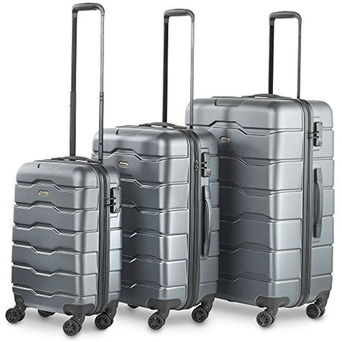 Vonhaus Premium Gray 3 Piece Lightweight Luggage Set – Hardshell Travel Suitcase With Tsa