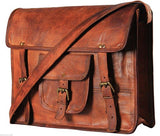 Vintage Handmade Leather Large Shoulder Satchel Laptop Holder Crossbody College Office Bag Unisex