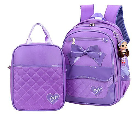 Fanci 2Pcs Bowknot Waterproof Nylon Elementary School Bookbag for Girls Primary School Backpack Set