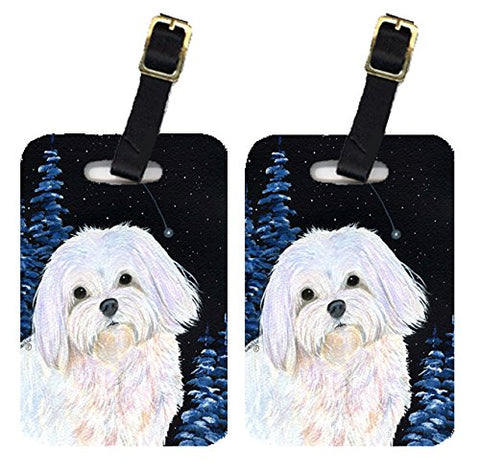 Caroline'S Treasures Ss8460Bt Starry Night Maltese Luggage Tags Pair Of 2, Large, Multicolor