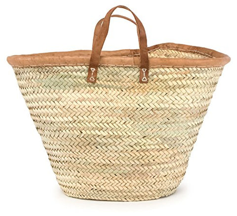 "Moroccan Straw Market Bag W/ Brown Leather Handles & Trim - 22""Lx13""H - Majorca"