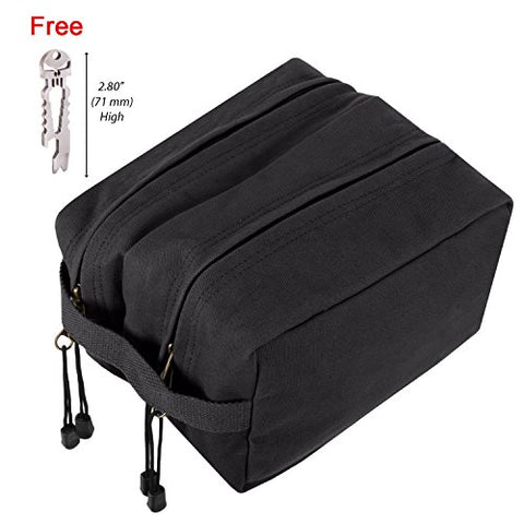 Canvas Dual Compartment Travel Toiletry Bag, Black w/Silver FREE Punisher Tool