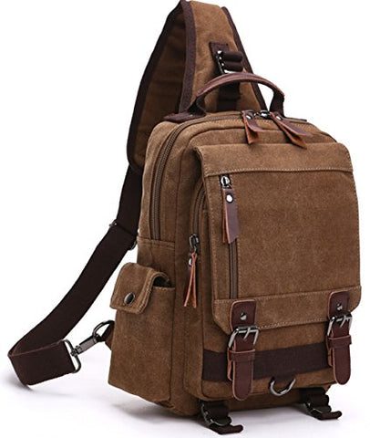 Aidonger Unisex Canvas Messenger Bag Backpack Shoulder Bag (Shoulder bag, Coffee)