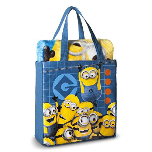 Despicable Me Minion Throw Blanket Silk Touch Canvas Tote Bag 2 pieces Set
