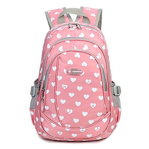 Abshoo Heart Printed School Backpacks For Girls Cute Primary School Bookbags (Pink)
