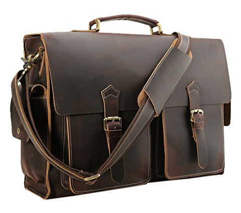 Polare 17'' Mens Full Grain Leather Laptop Briefcase Business Messenger Bag Satchel