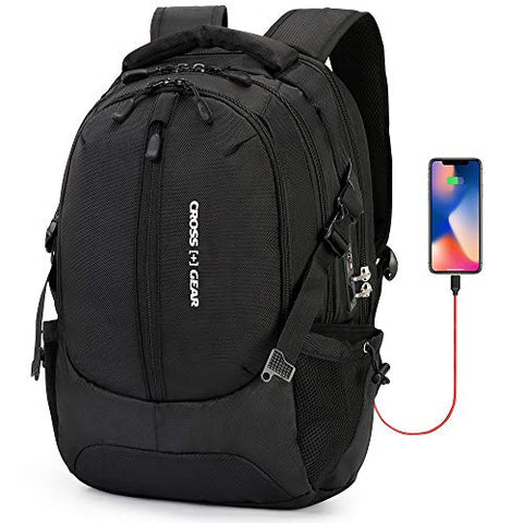 Cross Gear Office Business Computer Backpack with USB Charging Port, Laptop Compartment, Anti Theft