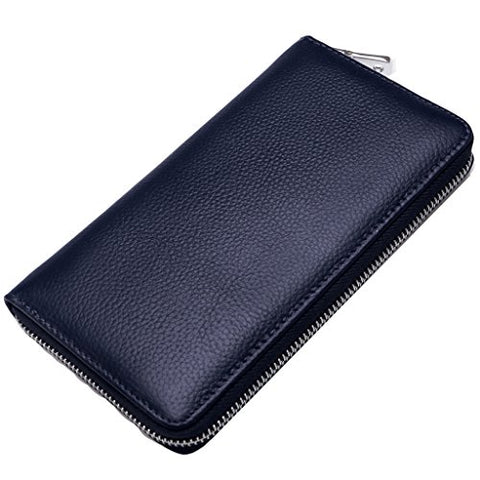 BOBILIKE Credit Card Holder RFID Blocking Wallet Leather ID Card Case for Women, Dark Blue