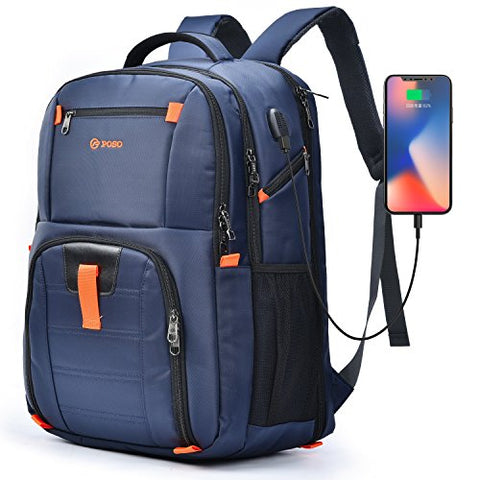 POSO Laptop Travel Backpack 17.3 Inch Computer Bag with USB Port Water-Resistant Business