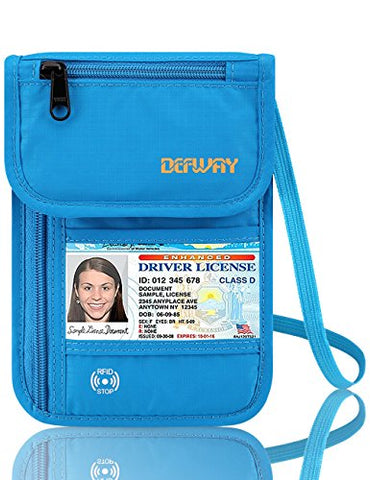 Defway Neck Travel Wallet RFID Passport Holder Waterproof Stash Pouch Blue