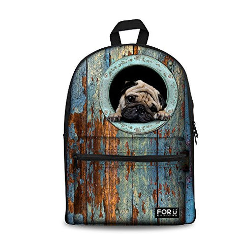 Bigcardesigns Canvas Pug Dog School Bag Backpack For Girls Boys