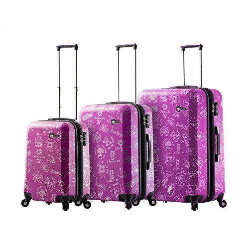 Mia Toro M1089-03Pc-Pur Love This Life-Medallions Hardside Spinner Luggage 3Pc Set, Purple