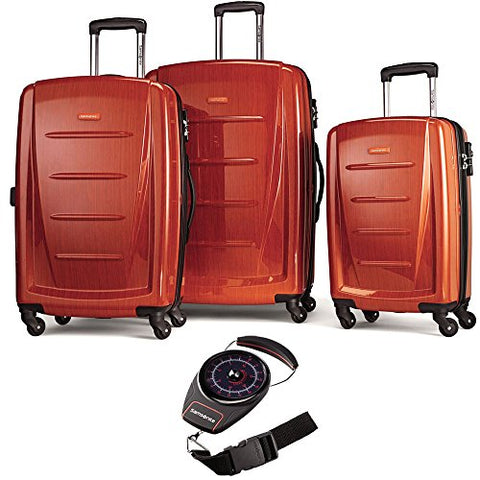Samsonite 56847-1641 Winfield 2 3 Piece Spinner Set - Orange with Luggage Scale