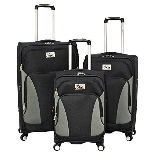 Chariot Prato 3 Piece Lightweight Upright Spinner Luggage Set, Black, One Size