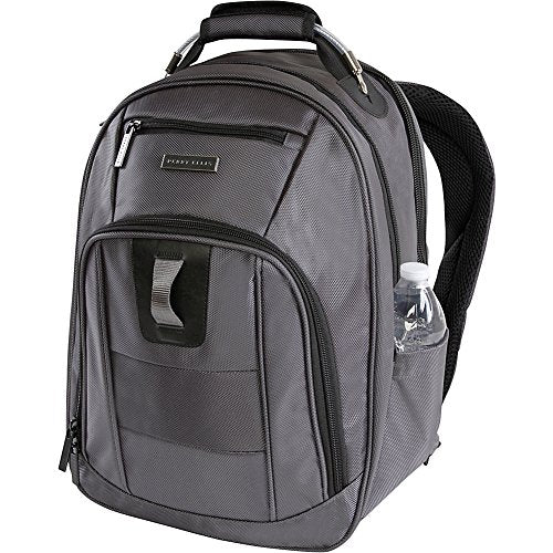 Perry Ellis Men's M328 Business Tablet Compartment Laptop Backpack, Charcoal, One Size