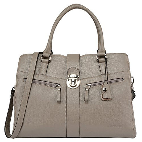 Banuce Gray Real Leather Handbags for Women Business Work Briefcase Shoulder Messenger Bag for