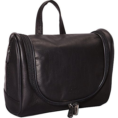 Mancini Leather Goods Colombian Leather Deluxe Toiletry Kit (Black)