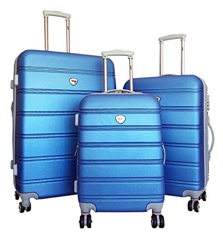 3Pc Luggage Set Suitcase Hardside Rolling 4Wheel Spinner Upright Carryon Travel Blue