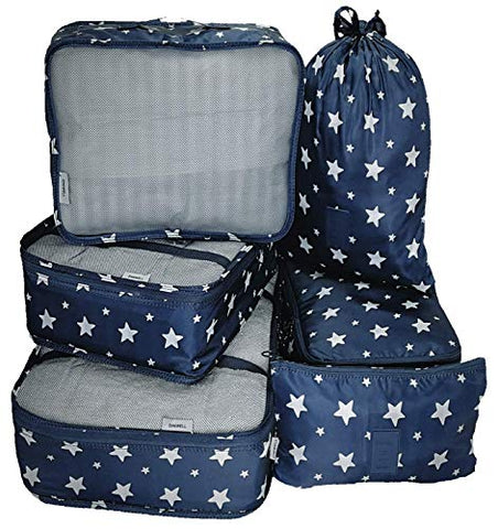 Packing Cubes Backpack Organizers Set for Carry on Travel Bag Luggage Cube (Star 6)