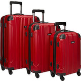 "Kenneth Cole Reaction Out of Bounds Luggage 4-Wheel Abs 3-Piece Nested Set: 20"" Carry-on, 24"" 28"" Upright, Red"