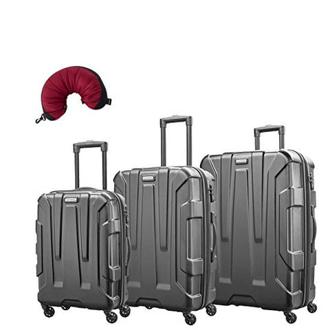 "Samsonite Centric 4 Piece Bundle | 20"", 24"", 28"", Travel Pillow (Black)"