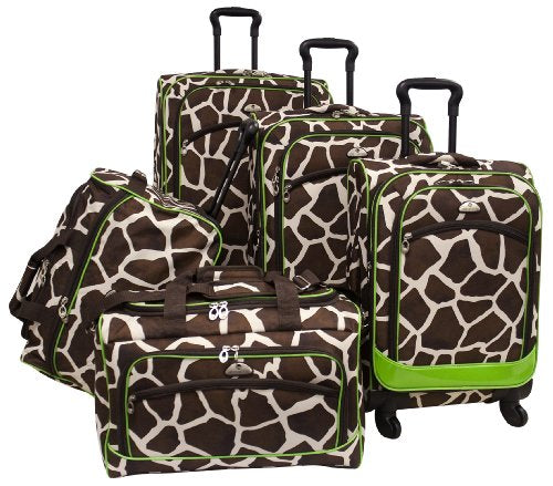 American Flyer Luggage Animal Print 5 Piece Spinner Set, Giraffe Green, One Size