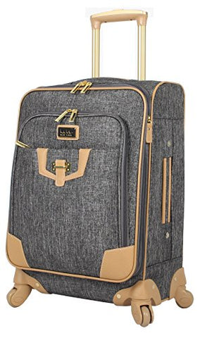 "Nicole Miller Paige Collection 20"" Expandable Carry On Luggage Spinner (Silver)"