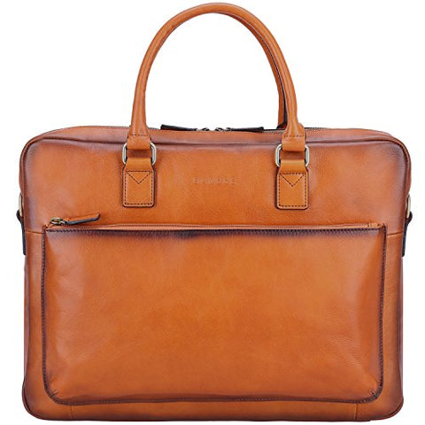 "Banuce Vintage Full Grain Leather Briefcase for Men Tote Business Messenger Bag 14"" Laptop Shoulder Bag"