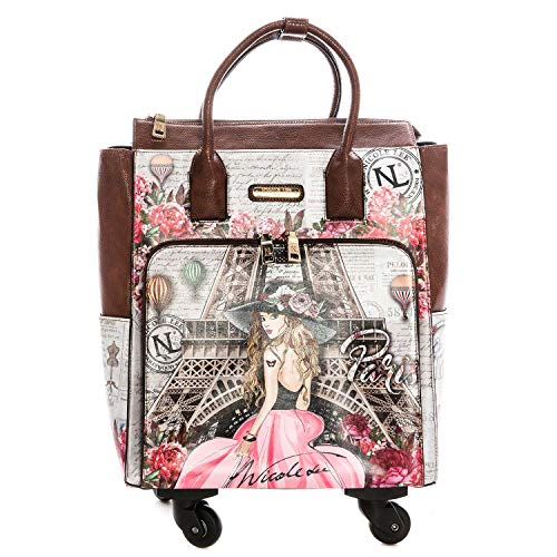 Nicole Lee Women's Graphic Pink Rolling Tote Bag with 4 Spinner Wheels and Electronic Compartment Travel, Vivian Dreams Paris, One Size