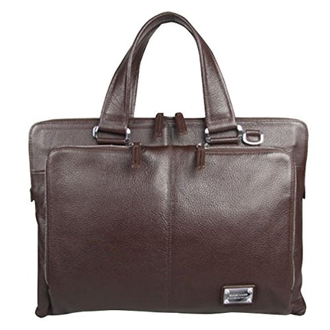 ABage Men's Genuine Leather Business Case Briefcase Portfolio Tote Handbag Coffee
