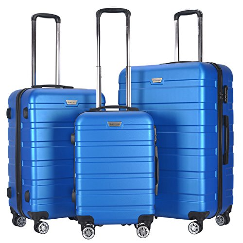 "GHP 3-Pcs 20"" 24"" 28"" Blue Hardshell ABS 210D Polyester Lining Trolley Luggage Set"