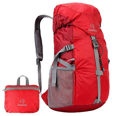 Outereq 30L Outdoor Travel Backpack Hiking Foldable Daypack Red