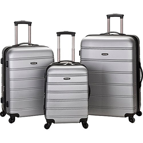 Rockland Luggage Melbourne 3 Piece Set, Silver