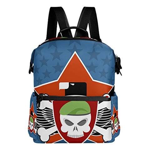 Colourlife Skull In Charge On Shield Stylish Casual Shoulder Backpacks Laptop School Bags Travel