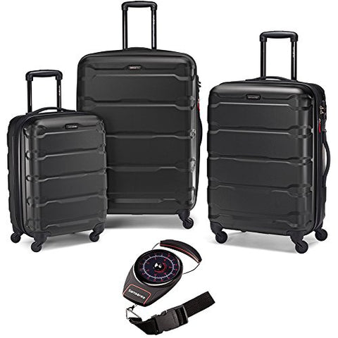 Samsonite Omni Hardside Nested Spinner Set Black with Luggage Scale Red/Black