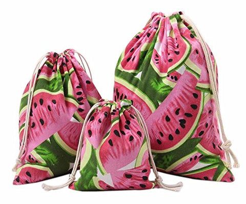 Set Of 3 Practical Travel Sports Storage Drawstring Bags Canvas Watermelon
