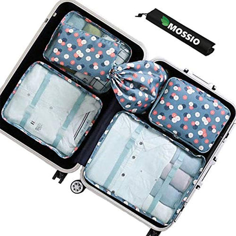 Packing Bags,Mossio 7 Piece Mesh Carry On Luggage Organizer Pouch for Clothes Blue Flower