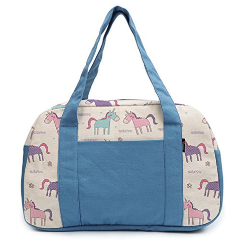 Women'S Seamless Cute Unicorn Pattern Printed Canvas Duffel Travel Bags Was_19