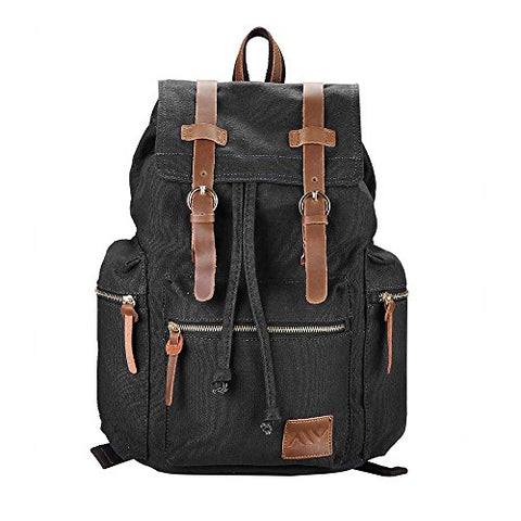 "Aw 17X14X5"" Vintage Canvas Backpack Rucksack Casual Schoolbag Travel Hiking Shoulder Bag Sport"