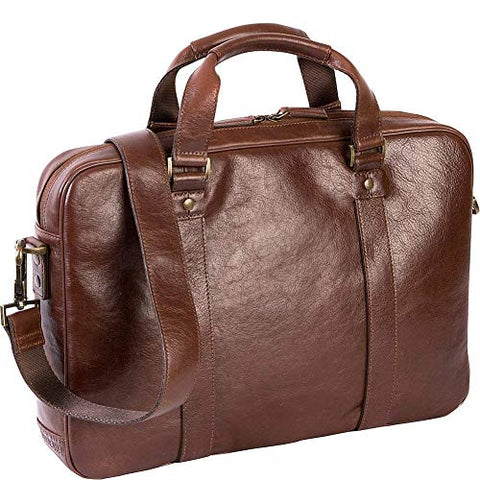 "Boconi Becker Zip Leather 15"" Laptop Briefcase, Business Computer Bag in Whiskey"