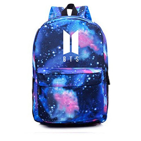 Bosunshine BTS Unisex Galaxy Space Shoulder Bag Backpack Daypack School Bag (Navy blue)