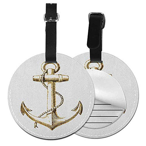 "Personality round luggage tag Nautical Fashion match Gold Foil Anchor Image Be Safe and Grounded Voyage Journey Adventure Fisherman,Diameter3.7"" Gold White"