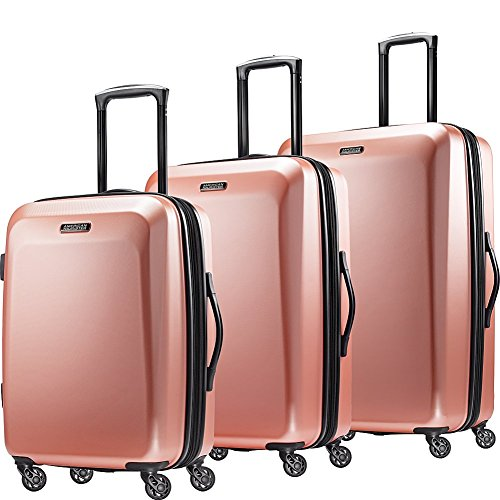 "American Tourister Moonlight Hardside 3 Piece Spinner Set 21"" 24"" and 28"" (Rose Gold)"