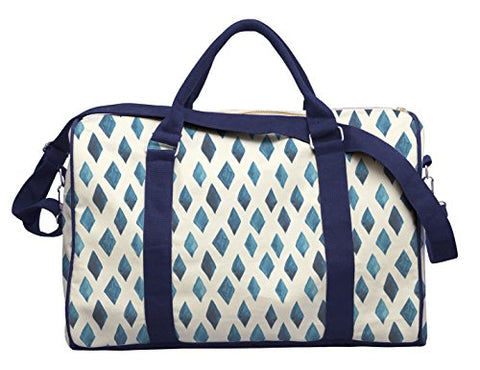 Watercolor Blue Rhombus-2 Printed Canvas Duffle Luggage Travel Bag Was_42