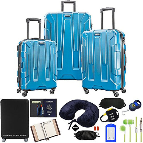 Samsonite Centric 3-Piece Luggage Set, Caribbean Blue with Accessory Kit