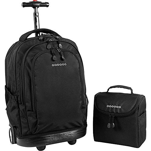 J World New York Setbeamer Rolling Backpack with Lunch Bag (Black)