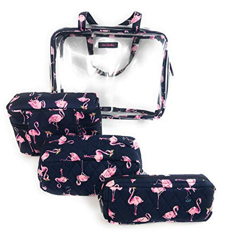 Vera Bradley 4 Piece Travel Cosmetic Organizer Flamingo Fiesta